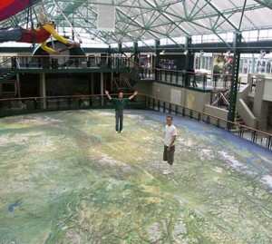 """The B.C. map is unique for both its size and its shape,"" notes Faulkner. At nearly 300 square metres — 12 by 24 metres — it fits snugly into the old Crystal pool."
